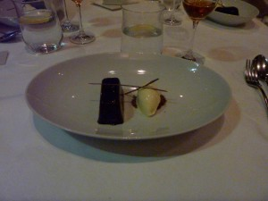Pave of chocolate with Cream cheese ice cream