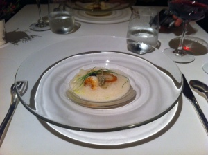 Scallop and prawn with a shellfish foam