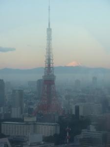 Early morning beauty shot. Tokyo Tower and Fuji-san