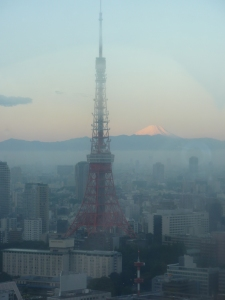 Early morning beauty shot. Tokyo Tower and Fuji-san