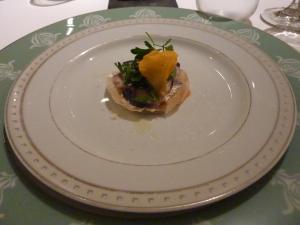 Amuse bouche of mackerel and petit flowers