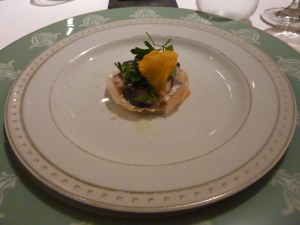 Amuse bouche of mackerel and petit flowers