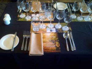 Table setting for Henschke dinner