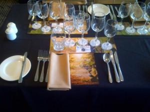 Table setting for Henschke dinner