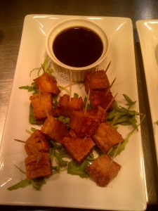 Crispy pork belly with BBQ sauce
