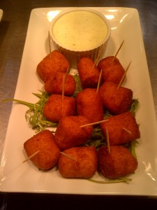 Little sweet potato and brie croquettes with coriander aioli