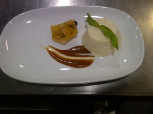 Honey and vanilla pannacotta, coffee caramel sauce, coffe almond brittle