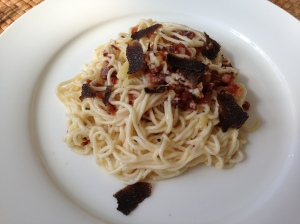Home made pasta, Pancetta, parmesan and truffle