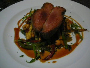 Duck with wok fried vegetables