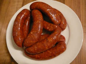 Yum! Merguez sausages