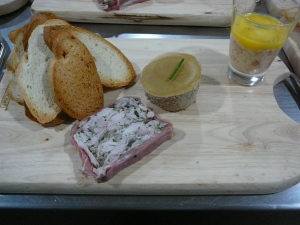Chicken and mushroom terrine, duck liver pate, salmon rillette (in glass)