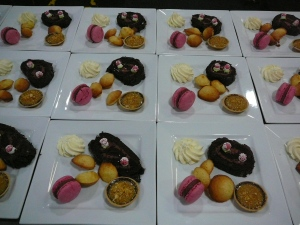Buche de Noel, Coffee Brulee Tart, madeleines, Macarons