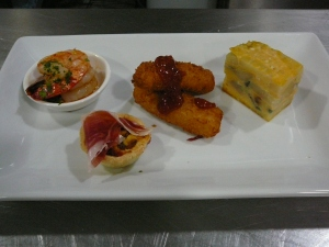 Garlic prawns, Capsicum tarlet with jamon, eel croqutte, Spanish omelette
