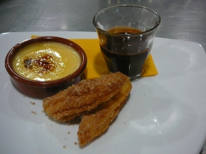 Crema Catalana, churros with chocolate