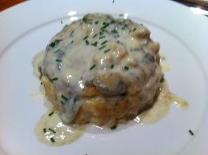 Cauliflower souffle with roquefort sauce