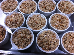 Quince and pear crumbles ready for the oven.