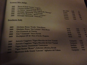 A sample of the wine list