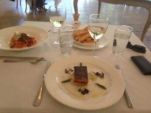Lunch, fettucine and barramundi