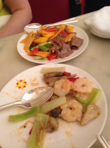 Beef and prawn dishes for our mains