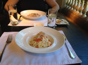 Crab and prawn Angel hair pasta, confit duck risotto
