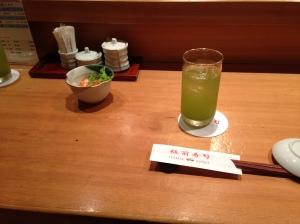 Nice glass of iced green tea.