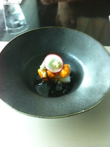Taro stem,uni, seaweed sauce