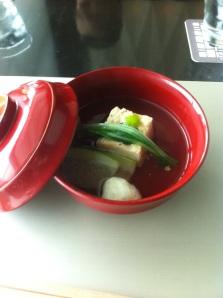 Clear broth, tofu skin, prawn dumpling