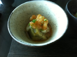 Braised eggplant, pike conger and tofu