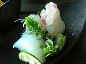 Sashimi squid and sea bream