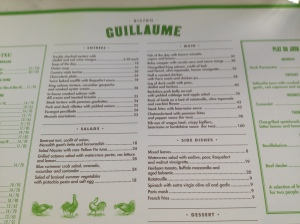 Bistro Guillaume menu