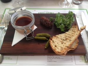 Pate, pear relish and crusty bread