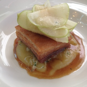 Pork belly, pickled cabbage and apple salad
