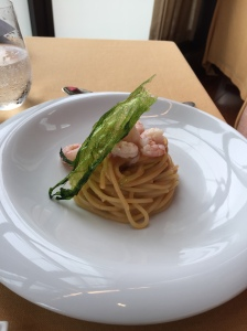 Gragnano spaghetti with red shrimp