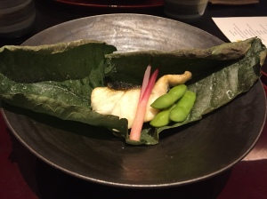 Black cod in magnolia leaf