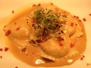 Lobster and salmon ravioli,ginger and treacle beurre blanc