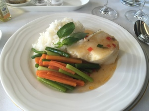 Steamed fish, rice and vegetables - Emirates First Class Dubai to Geneva