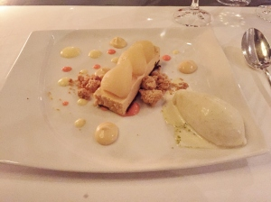 Caramel pear, pink praline custard and orchid ice cream.