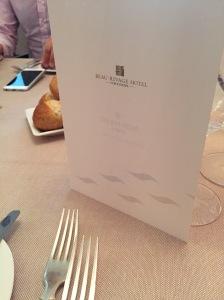 Beau Rivage Neuchatel, menu