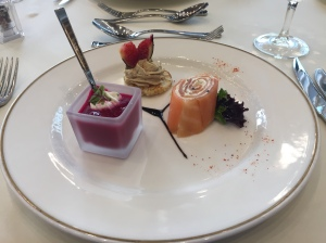 Borscht, foie gras, smoked salmon