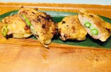 Asparagus and Shimanto pork Jeon pancake up close