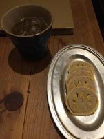 Renkon with mustard, Umeshu on ice